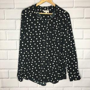 Merona Long Sleeve Collar Button Up Blouse (XL)